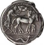 SICILY. Syracuse. Second Democracy, 466-406 B.C. AR Tetradrachm (17.28 gms), ca. 466-460 B.C. NGC VF