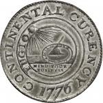 """1776 Continental """"dollar."""" Newman 1-C, W-8445. Rarity-3. CURENCY. MS-62+ (PCGS)."""
