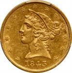 1843 Liberty Head Half Eagle. AU-55 (PCGS).