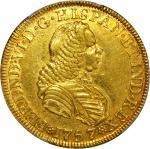 COLOMBIA.1757-SJ 4 Escudos. Santa Fe de Nuevo Reino (Bogotá) mint. Ferdinand VI (1746-1759). Restre
