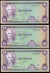 Bank of Jamaica, a group of notes from the 1985-99 series, $1 (6), 1985, 1986, 1987, 1989, 1990, pur