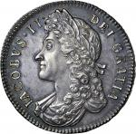 James II (1685-88), proof Halfcrown, 1687 tertio, second laureate and draped bust left, rev. crowned