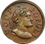1760 Voce Populi Halfpenny. Nelson-9, Zelinka 6-C, W-13280. MS-63 BN (PCGS).