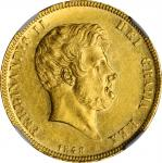 ITALY. Naples & Sicily. 15 Ducati, 1848/7. Naples Mint. Ferdinand II. NGC MS-60.