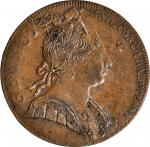 Undated (1775) Contemporary Counterfeit English Halfpenny. George III Type--Overstruck on a (ca. 179