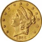 1866-S Liberty Head Double Eagle. Motto. AU-58 (PCGS). CAC.