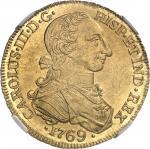 COLOMBIE Charles III (1759-1788). 8 escudos 1769 V, NR, Nuevo Reino (Santa Fé de Bogota).