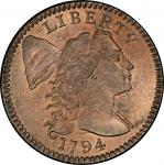1794 Liberty Cap Cent. Sheldon-69. Head of 1795. Rarity-3. Mint State-65 RB (PCGS).