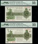 Treasury Series, N.F.Warren-Fisher, second issue, 10 shillings (2), ND (6 November 1922), red serial