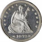 1873 Liberty Seated Quarter. Arrows. Proof-64 Cameo (PCGS). CAC.