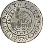 "1776 Continental ""dollar."" Newman 3-D, W-8460. Rarity-4. EG FECIT. Pewter. AU-58+ (PCGS)."