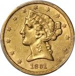 1861 Liberty Head Half Eagle. AU-53 (PCGS).