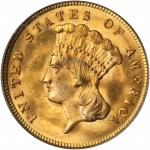 1874 Three-Dollar Gold Piece. MS-64 (PCGS). CAC. OGH.
