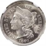 1880 Nickel Three-Cent Piece. Proof-66 (NGC).
