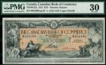 Canadian Bank of Commerce, $10, Toronto, 1917, serial number B454300, also a $5, 1935, serial number
