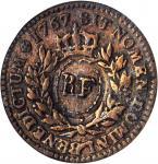 1767-A Sou. Paris Mint. Breen-701. RF Counterstamp. VF-30 (PCGS).