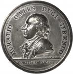 1777 (ca. 1801) General Horatio Gates at Saratoga. White Metal. 56 mm. Adams and Bentley-4, Betts-55