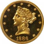 1886 Liberty Eagle. Proof-64 Deep Cameo (PCGS).