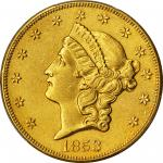 1853-O Liberty Head Double Eagle. Winter-1, the only known dies. AU Details--Environmental Damage (P