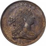 1808 Draped Bust Half Cent. C-3. Rarity-1. MS-63 BN (PCGS).