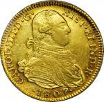 COLOMBIA. 1807-JJ 4 Escudos. Santa Fe de Nuevo Reino (Bogotá) mint. Carlos IV (1788-1808). Restrepo