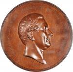 1850 Millard Fillmore Indian Peace Medal. First Size. Julian IP-30, Prucha-48. Bronze. MS-63 BN (NGC