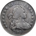 1799 Draped Bust Silver Dollar. BB-153, B-4. Rarity-4. Irregular Date, 15-Star Reverse. VF Details--