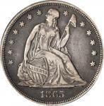 1865 Liberty Seated Silver Dollar. OC-2. Rarity-2. VF-35 (PCGS).
