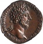 MARCUS AURELIUS, A.D. 161-180. AE Sestertius (25.42 gms), Rome Mint, ca. A.D. 165-166.