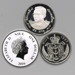 NIUE ニウエ& THAILAND タイ ニウエ:Dollars 2016 ハチ公 1オンス(1Oz)银货  、Dollar 1997 ダイアナ妃胸像白铜货      タイ:50Baht 2000