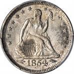 1854 Liberty Seated Quarter. Arrows. MS-65+ (PCGS).