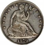 1879 Liberty Seated Half Dollar. WB-102. Type II Reverse. VF Details--Tooled (PCGS).