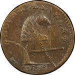 1788 New Jersey copper. Maris 74-bb. Rarity-5+. Running Fox. EF Detail, Scratch (PCGS).