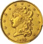 1834 Classic Head Half Eagle. McCloskey-2. Second Head, Small Plain 4. AU Details--Scratch (PCGS).