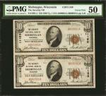 Sheboygan, Wisconsin. Uncut Pair of $10 1929 Ty. 1. Fr. 1801-1. The Security NB. Charter #11150. PMG