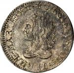 Undated (Circa 1659) Lord Baltimore Shilling. Hodder 1-A, W-1080. Large Bust. AU-50 (PCGS).