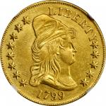 1799 Capped Bust Right Eagle. BD-7, Taraszka-19. Rarity-3. Small Obverse Stars. AU Details--Improper