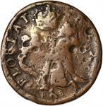 Undated (ca. 1652-1674) St. Patrick Farthing. Martin 6b.1-Ba.8, Breen-217, W-11500. Rarity-6. Copper