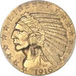 USA République fédérale des États-Unis d'Amérique (1776-à nos jours). 5 dollars Indien 1916, S, San