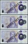 Bank of England, Sarah John, polymer £20, ND (20 February 2020), serial number AA01 000304/305/306,