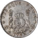 1764-Mo MF年一圆银币。墨西哥城造币厂,查尔斯三世。MEXICO. 8 Reales, 1764-Mo MF. Mexico City Mint. Charles III. PCGS Genu