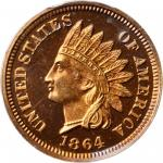 1864 Indian Cent. Copper-Nickel. Snow-PR1, the only known dies. Proof-66 Deep Cameo (PCGS). Eagle Ey