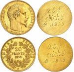 Napoléon III (1852-1870). 20 francs 1855 A, Paris, paire d'essais unifaces en bronze doré.