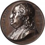 1818 Benjamin Franklin Series Numismatica Medal. Bronze. 40 mm. Greenslet GM-2, Fuld FR.M.SE.1. Spec