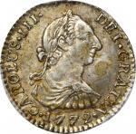 COLOMBIA. 1772-JV Real. Santa Fe de Nuevo Reino (Bogotá) mint. Carlos III (1759-1788). Restrepo 38.1
