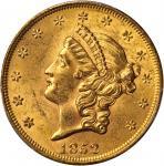1852 Liberty Head Double Eagle. MS-62+ (PCGS).