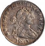 1803 Draped Bust Half Dollar. O-103, T-3. Rarity-3. Large 3. EF-45 (NGC).