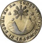 ECUADOR. 4 Reales, 1843-QUITO MV. Quito Mint. ANACS VF Details--Cleaned.