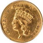 1855 Three-Dollar Gold Piece. AU-58 (PCGS).