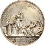 1781 Battle of Doggersbank Medal. Silver. 44.6 mm. Betts-589. Choice About Uncirculated.